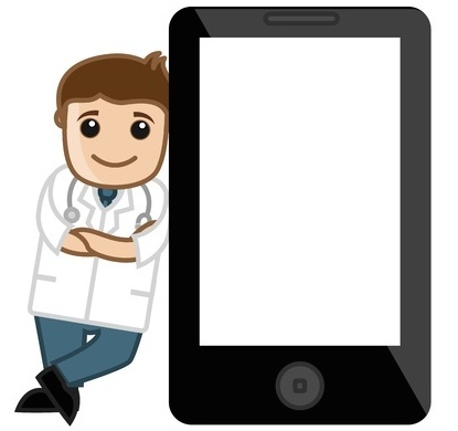 vector of doctor against phone